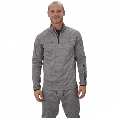 Hoodie BAUER VAPOR FLEECE 1/4 ZIP TOP GRY-SR