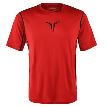 Hockey T-shirt BAUER CORE SS HYBRID S-17 YTH-RED